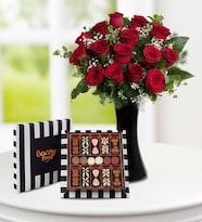 Vazoda 15 Kırmızı Gül ve Premium Çikolata 310gr