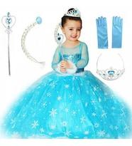 Frozen Elsa Çocuk Kostümü - Tarlatanlı Uzun Kollu Simli Kostüm + Full Set