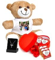 Kişiye Özel Fotoğraflı Peluş Ayıcık Kalp Kutu da Seni Seviyorum Çikolata ve Melek Kolye