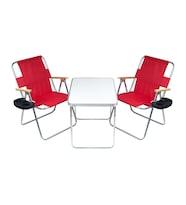 Hastunç Alüminyum Çerçeveli Kamp Masası ve 2 adet Ahşap Kolçaklı Bardaklık Aparatlı Sandalye Takımı