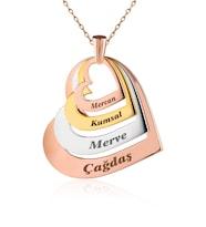 Dört İsimli Kişiye Özel Kalpler Gümüş Kolye