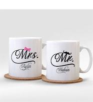Kişiye Özel İkili Mr. & Mrs. Beyaz Kupa Bardak - 003