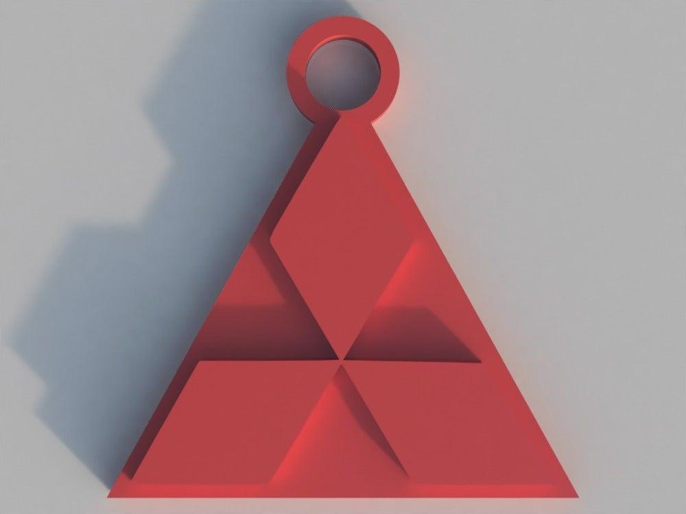 Mitsubishi Logosu Organik Plastikten Dekoratif Biblo Anahtarlık